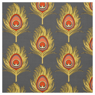 Peacock Feathers, Mustard Yellow on Gray / Grey Fabric