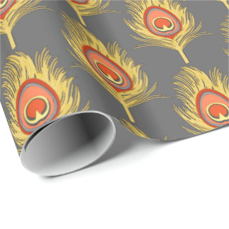 Peacock Feathers, Mustard Yellow on Gray / Grey Wrapping Paper