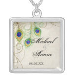 Peacock Feathers n Swirls Wedding or Anniversary Square Pendant Necklace