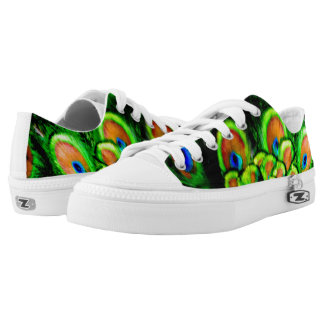 """""""peacock feathers of color"""" low tops"""