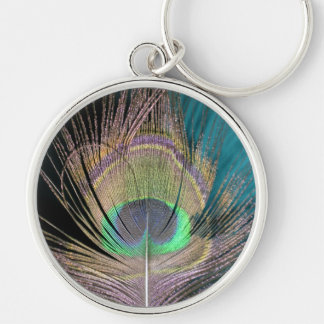 Peacock Feathers on black and turquoise Key Ring
