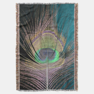 Peacock Feathers on black and turquoise Throw Blanket