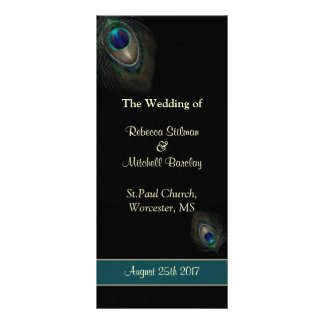 Peacock feathers on black Wedding program Rack Card