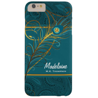 Peacock Feathers on Teal Paisley Barely There iPhone 6 Plus Case