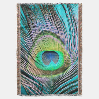 Peacock Feathers on turquoise