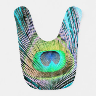 Peacock Feathers on turquoise Bib