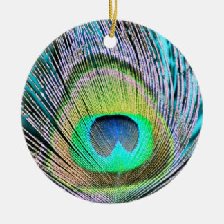 Peacock Feathers on turquoise Christmas Ornament