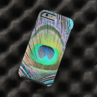 Peacock Feathers on turquoise iPhone 6 Case