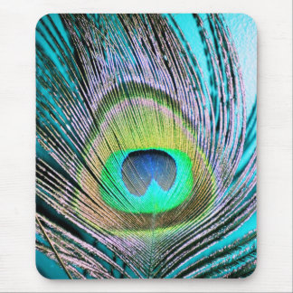 Peacock Feathers on turquoise Mouse Mat