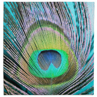 Peacock Feathers on turquoise Napkin