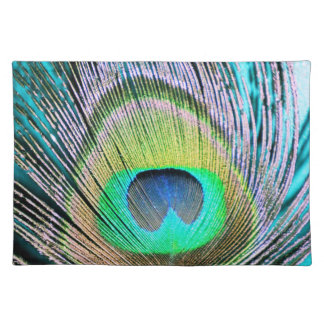 Peacock Feathers on turquoise Placemat