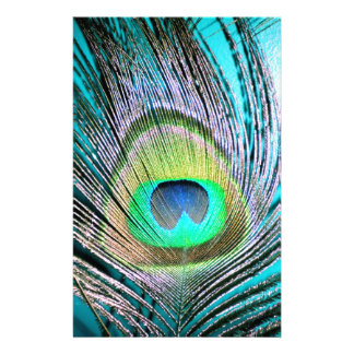 Peacock Feathers on turquoise Stationery