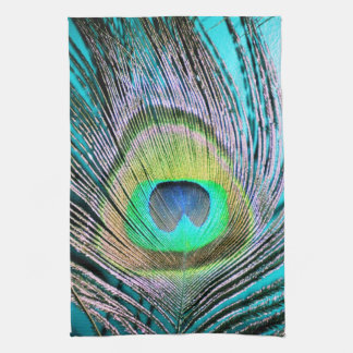 Peacock Feathers on turquoise Tea Towel