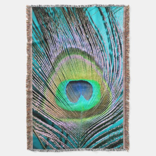Peacock Feathers on turquoise Throw Blanket