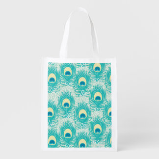 Peacock feathers pattern reusable grocery bag