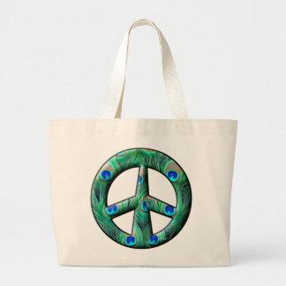 Peacock Feathers Peace Sign Jumbo Tote Bag