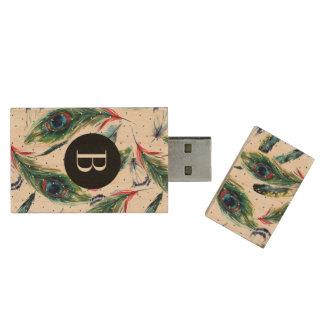 Peacock Feathers & Polka Dots Pattern Wood USB 3.0 Flash Drive