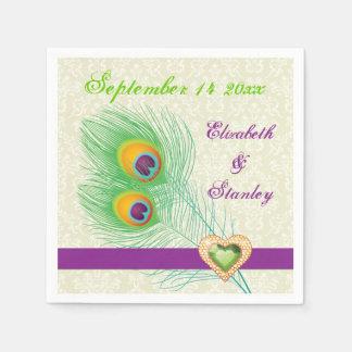 Peacock feathers purple, green jewel heart wedding paper napkins
