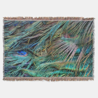 Peacock Feathers Rainbow Colors Throw Blanket