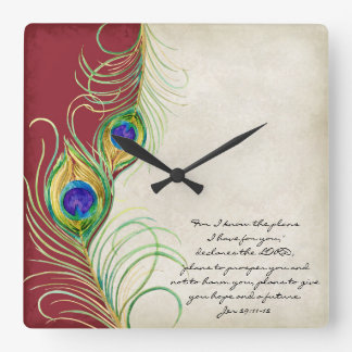 Peacock Feathers Red Damask Christian Scripture Clocks