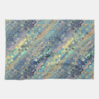 Peacock Feathers Retro Abstract Tea Towel