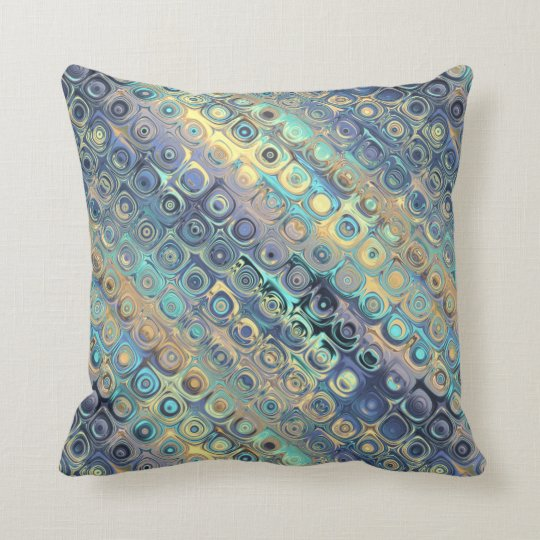 Peacock Feathers Retro Abstract Throw Pillow