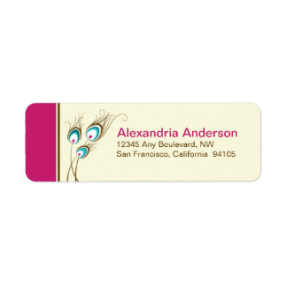 Peacock Feathers Return Address Labels (fuchsia)