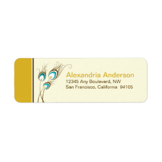 Peacock Feathers Return Address Labels (gold)