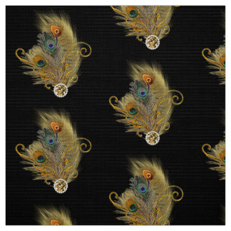 Peacock Feathers Rhinestone Diamond Pattern Black Fabric