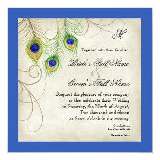 Peacock Feathers Royal Blue Wedding Invitation