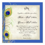 Peacock Feathers Royal Blue Wedding Invites