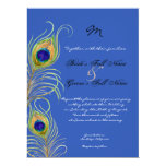 Peacock Feathers Royal Cobalt Blue Wedding Invites