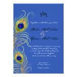 Peacock Feathers Royal Cobalt Blue Wedding Invites