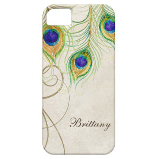 Peacock Feathers Royal Damask Personalized Names Case For The iPhone 5