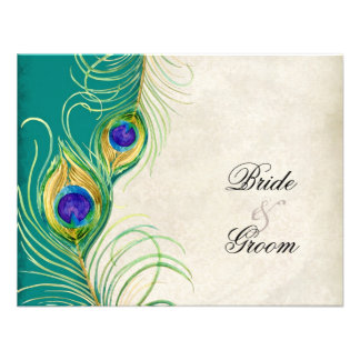Peacock Feathers RSVP Response Cards Custom Invite