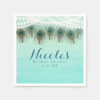 Peacock Feathers & String Lights Rustic Party Disposable Serviettes