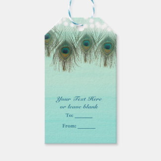 Peacock Feathers & String Lights Rustic Party Gift Tags