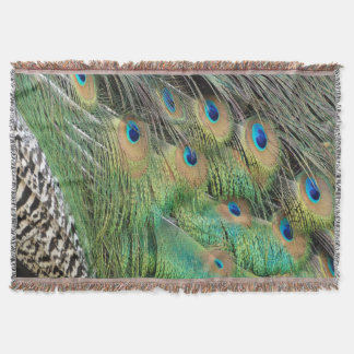 Peacock Feathers Tan Green And blue Colors Throw Blanket