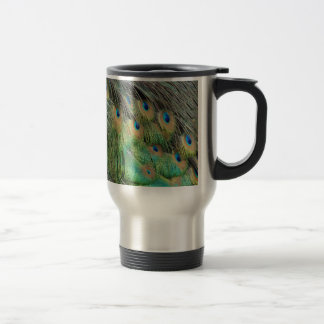 Peacock Feathers Tan Green And blue Colors Travel Mug