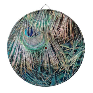 Peacock Feathers Tan Green And blue Dartboard