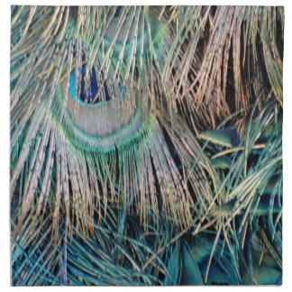 Peacock Feathers Tan Green And blue Napkin