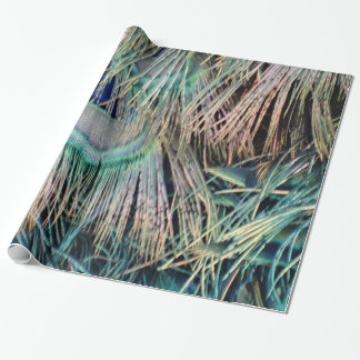 Peacock Feathers Tan Green And blue Wrapping Paper