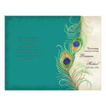 Peacock Feathers - Teal, Wedding Program Flyer
