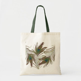 Peacock Feathers Tote Budget Tote Bag