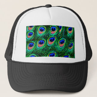 Peacock feathers_ trucker hat