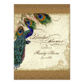 Peacock & Feathers Vintage Gold Look Damask  Swirl 17 Cm X 22 Cm Invitation Card