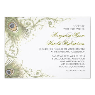 peacock feathers vintage wedding invitations