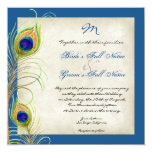 Peacock Feathers Wedding Invitation 13 Cm X 13 Cm Square Invitation Card