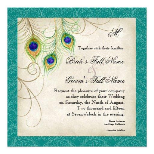 Peacock Feathers Wedding Invitation - Teal Blue
