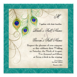 Peacock Feathers Wedding Invitation - Teal Blue